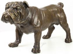 Casa Padrino Luxus Bronzefigur Englische Bulldogge Bronze 54,5 x 24,1 x H. 31 cm - Dekofigur