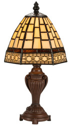 Casa Padrino Luxury Tiffany Table Lamp Brown / Multicolor Ø 13 x H. 32 cm - Luxury Stool Lamp