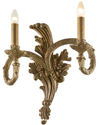 Casa Padrino Baroque Double Wall Lamp Antique Gold 43 x H. 47 cm - Polyresin Wall Light in Baroque Style