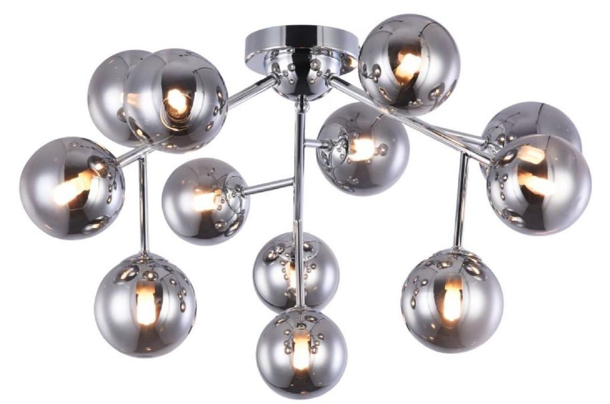 Casa Padrino Wohnzimmer Deckenleuchte Silber O 60 X H 20 Cm Deckenlampe Mit Kugelformigen Lampenschirmen