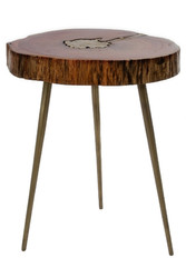Casa Padrino luxury tripod side table brown / brass 28 x 36 x H. 46 cm - Modern Table in Tree Slices Design and Brass Filling