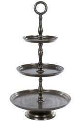 Casa Padrino Designer Etagere Silver Ø 47 x H. 87 cm - Decorative 3-Stage Serving Bowl with Handle