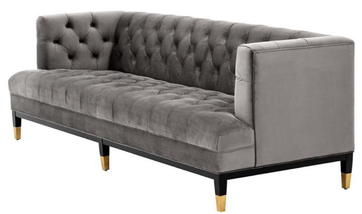 Casa Padrino Luxus Wohnzimmer Sofa Grau / Schwarz / Messingfarben 230 x 85  x H. 79 cm - Chesterfield Samtsofa