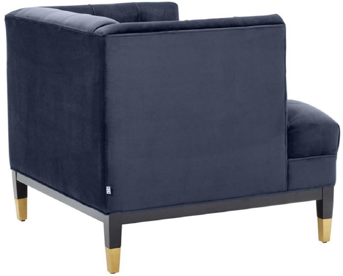 Casa Padrino Luxus Wohnzimmer Sessel Mitternachtsblau Schwarz