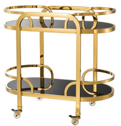 Casa Padrino Luxury Serving Trolley Gold / Black 85 x 46.5 x H. 80.5 cm - Hotel Restaurant Gastronomie Trolley