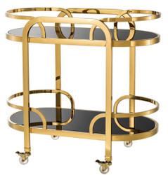 Casa Padrino Luxus Servierwagen Gold / Schwarz 85 x 46,5 x H. 80,5 cm - Hotel Restaurant Gastronomie Trolley