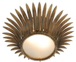 Casa Padrino Luxus Deckenleuchte im Sonnenblumen Design Vintage Messing / Weiß Ø 43 x H. 16,5 cm - Designer Lampe
