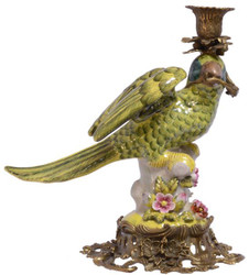Casa Padrino Art Nouveau Brass Candle Holder with Porcelain Parrot Multi-colored / green / gold  17,9 x 25,8 x H. 28,2 cm - Decorative Candle Holder