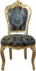 Casa Padrino Baroque Dining Chair Blue Pattern / Gold - Antique Furniture - Mod2