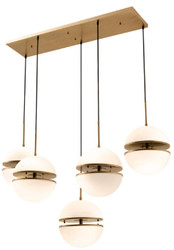 Casa Padrino pendant light antique brass / white 130 x 50 x H. 190 cm - Luxury Hanging Lamp