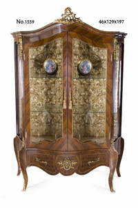 Casa Padrino baroque display cabinet 129 x 46 x H. 197 cm - living room furniture