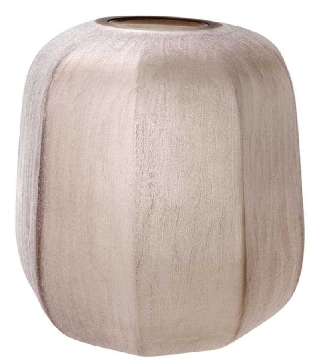 Casa Padrino Luxus Vase Sandfarben Ø 33 x H. 32 cm - Luxus Wohnzimmer Dekoration 1