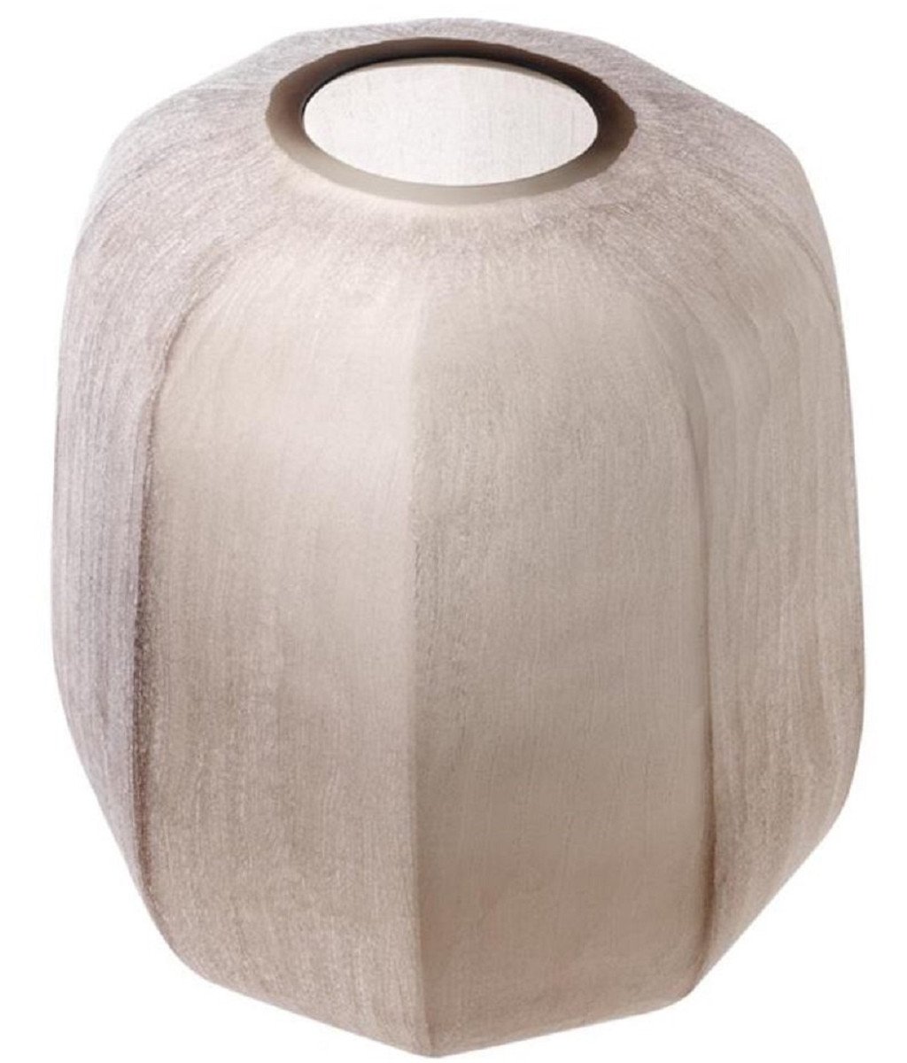 Casa Padrino Luxus Vase Sandfarben Ø 33 x H. 32 cm - Luxus Wohnzimmer Dekoration 2