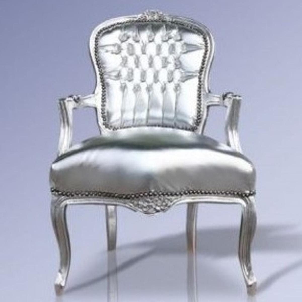 casa padrino barock salon stuhl silber lederoptik silber m bel antik stil st hle barock. Black Bedroom Furniture Sets. Home Design Ideas