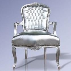 Baroque salon chair silver / silver Mod1