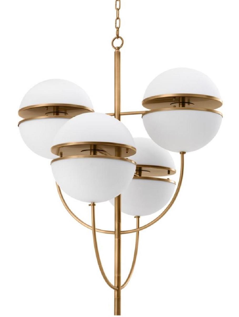 Casa Padrino Luxus Kronleuchter Antik Messing / Weiß Ø 81 x H. 107 cm - Luxus Qualität 2
