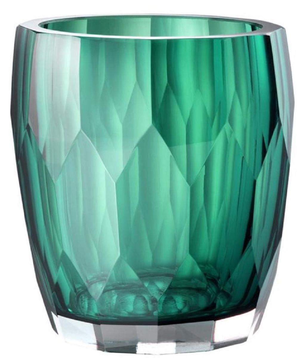 Casa Padrino Luxus Deko Glas Vase Grün Ø 12 x H. 14 cm - Luxus Qualität 1