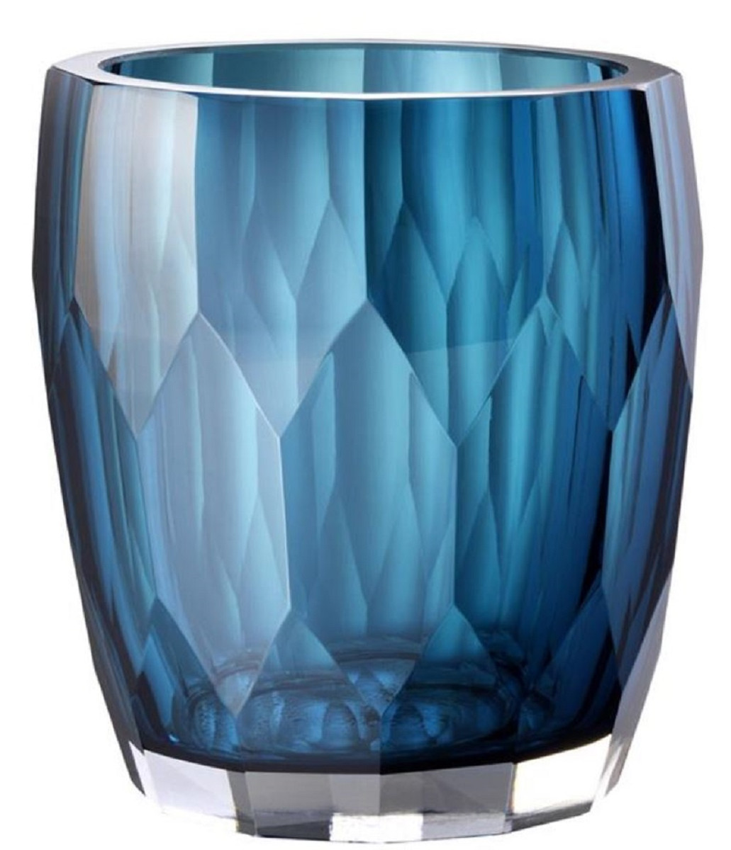 Casa Padrino Luxury Decorative Glass Vase Blue O 12 X H 14 Cm