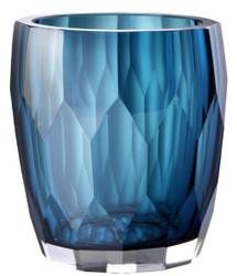Casa Padrino luxury decorative glass vase blue Ø 12 x H. 14 cm - Luxury Quality