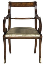 Casa Padrino luxury baroque dining chair with armrests brown / gold 59 x 57 x H. 88 cm - Luxury Quality