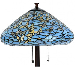 Casa Padrino Luxury Tiffany Floor Lamp Butterflies Blue / Multicolor Ø 50 x H. 160 cm - Handmade Floor Light