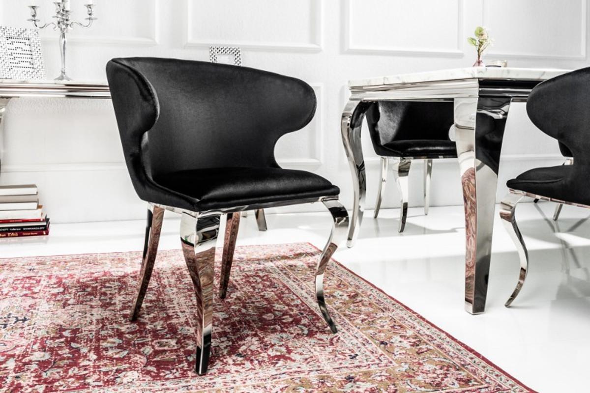 Silla de comedor de diseño Casa Padrino plateada / negra 61 x 60 x H ...