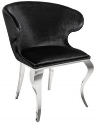 Casa Padrino designer dining chair silver / black 61 x 60 x H.79 cm - Dining room furniture