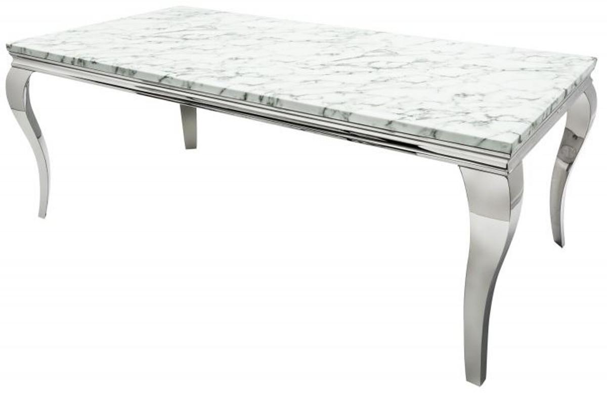 Casa Padrino Designer Dining Set Black / Silver / Blanc- Table à manger 180  cm + 4 chaises - Baroque moderne