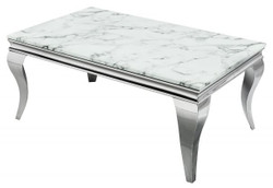 Casa Padrino designer coffee table silver / white - Living room furniture - Hotel furniture