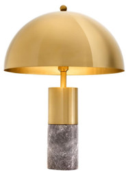 Casa Padrino luxury table lamp brass / gray Ø 50 x H. 70 cm - Table Lamp with Round Metal Lampshade