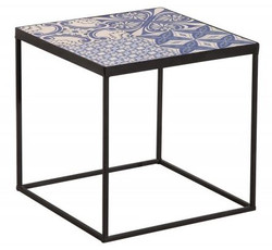 Casa Padrino designer side table with ceramic top Black / Blue / White 40cm - Living room furniture with mosaic pattern