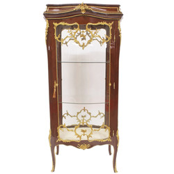 Casa Padrino Baroque glass cabinet display cabinet - Baroque furniture - Showcase 74 x 63 x H 174 cm - Cabinet mahogany cabinet / gold