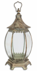 Casa Padrino Art Nouveau Lantern / Candle Holder Antique Brass 30 x 26.5 x H. 61 cm - Deco Accessories