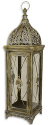 Casa Padrino Baroque Tin Lantern Antique Brass 24.4 x 23.2 x H. 84 cm - Deco Candle Holder in Baroque Style