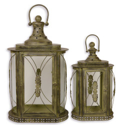 Casa Padrino Baroque Tin Lanterns Set Antique Brass 41.4 x 25.2 x H. 68.3 cm - Deco Candle Holders in Baroque Style