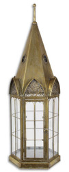Casa Padrino Art Nouveau Lantern Antique Brass 30.2 x 26.5 x H. 89.5 cm - Deco Tin Lantern In The Steeple Design
