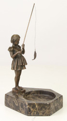 Casa Padrino Luxury Ashtray with Bronze Figure Girl with Fishing Rod Bronze / Gray 16.4 x 15.1 x H. 22.3 cm - Luxury Decoration