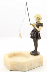 Casa Padrino Luxury Ashtray with Bronze Figure Girl with Fishing Rod Bronze / White 16 x 15 x H. 22.8 cm - Luxury Decoration