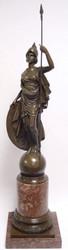 Casa Padrino Luxus Bronzefigur Athena Giustiniani Bronze / Rot 25,5 x H. 105,5 cm - Prunkvolle Dekofigur mit Marmorsockel