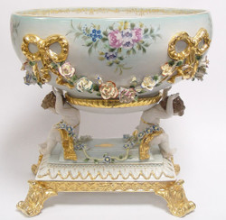 Casa Padrino Baroque Bowl White / Gold H. 43 cm - Splendid Porcelain Deco in Baroque Style