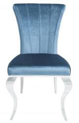 Casa Padrino Designer Esszimmerstuhl Silber / Blau 54 x 69 x H.95 cm - Esszimmermöbel