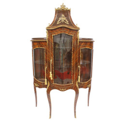 Casa Padrino Baroque Glass Display Cabinet - Baroque Furniture - Display Cabinet 125 x 50 x H 198 cm - Cabinet Mahogany Cabinet / Gold