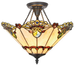 Casa Padrino Luxury Tiffany Ceiling Lamp Multicolor Ø 40 x H. 41 cm - Ceiling Light made of 264 Pieces