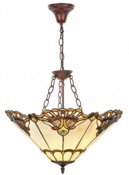Casa Padrino Luxury Tiffany Hanging Lamp Multicolor Ø 50 x H. 85 cm - Handcrafted Hanging Lamp From 288 Pieces