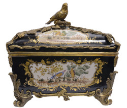 Casa Padrino baroque jewelry box with lid multicolour / antique brass 37 x H. 34.5 cm - Porcelain Deco in Baroque Style