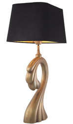 Casa Padrino Table Lamp Vintage Brass / Black 41 x 26.5 x H. 69 cm - Luxury Table Lamp with Velvet Lampshade