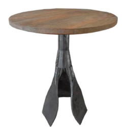 Casa Padrino Designer Side Table Brown / Silver Ø 59 x H. 74 cm - Round Table with Paddle Legs
