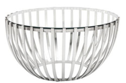Casa Padrino luxury coffee table silver Ø 81 x H. 43 cm - Round Stainless Steel Coffee Table with Glass Top