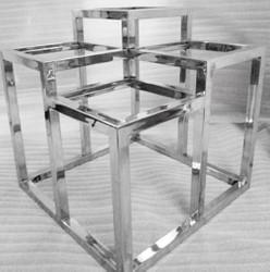 Casa Padrino Luxus Edelstahl Beistelltisch mit Glasplatten Silber 60 x 60 x H. 62 cm - Designermöbel