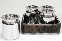 Casa Padrino Luxus Serviertablett mit 4 Dosen Silber / Braun 15 x 15 x H. 9 cm - Hotel & Restaurant Accessoires
